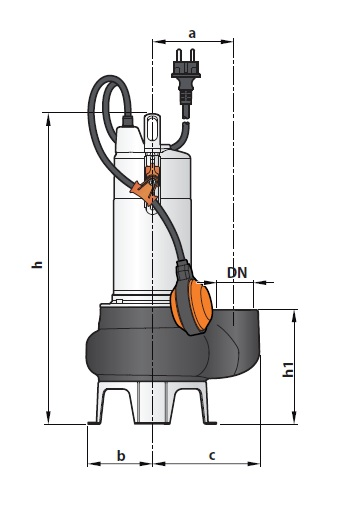 Погружной фекальный насос Pedrollo BC10/50 размеры