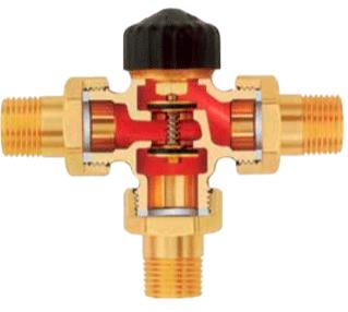 Конструкция трёхходового распределительного клапана IMI Heimeier