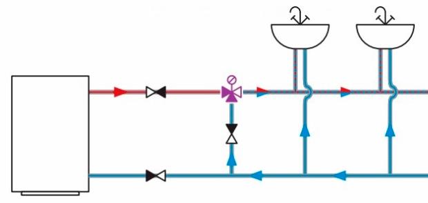 Система ГВС с бойлером без рециркуляции горячей воды