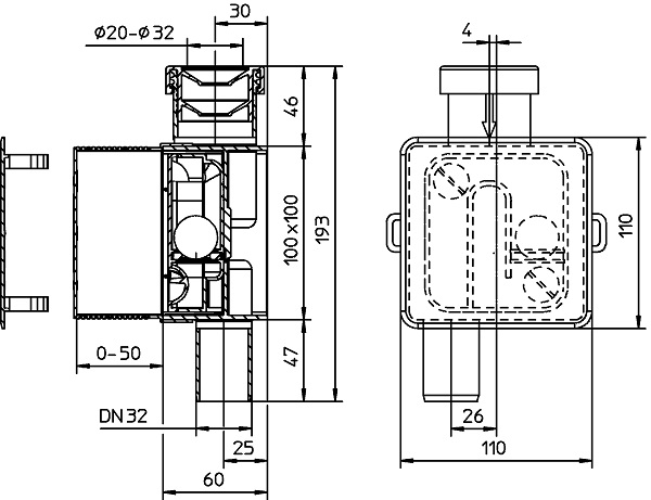 Сифон HL138 для кондиционеров габариты