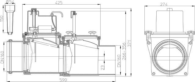 Затвор канализационный HL715.2EPC с электроприводом