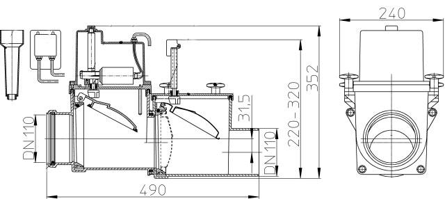Затвор канализационный HL710.2EPC с электроприводом