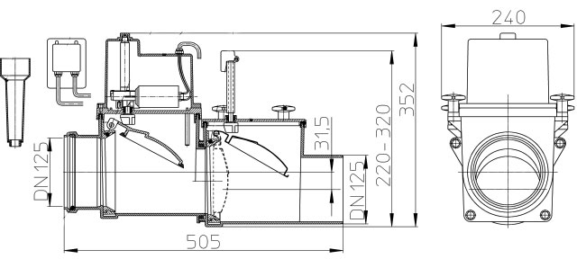 Затвор канализационный HL712.2EPC с электроприводом