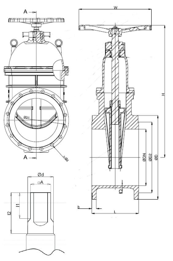Чертеж задвижки Zetkama 111 D