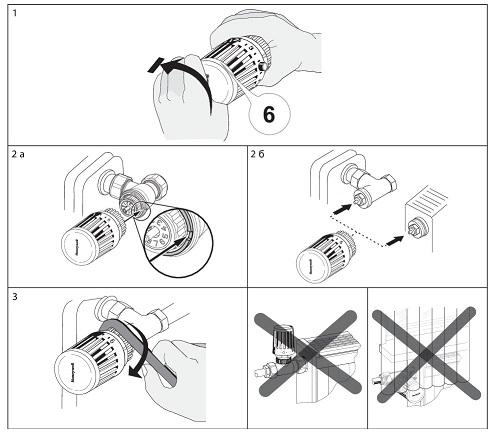 способ монтажа термоголовы Honeywell Thera-100