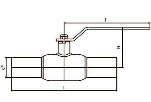 Шаровый кран приварной Interval стандартнопроходной габариты