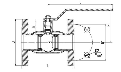 Кран шаровый фланцевый LD стандартнопроходной габариты
