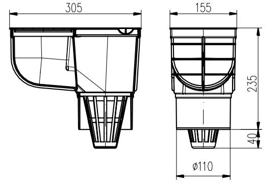 Чертеж - Дождеприемник пластиковый MCH 325E чёрный (390 л/мин)