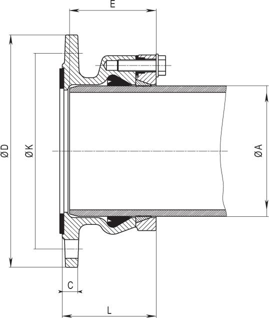 Фланец для труб из PE и PVC Hawle 0400 - чертеж