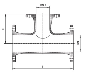 Тройник фланцевый Hawle 8510 DN 50 короткий - чертеж