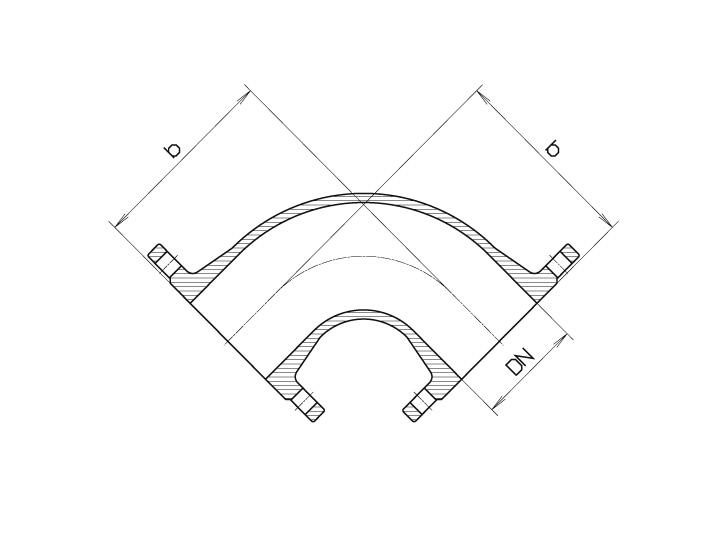 Колено чугунное фланцевое 90° Hawle 8530 - чертеж