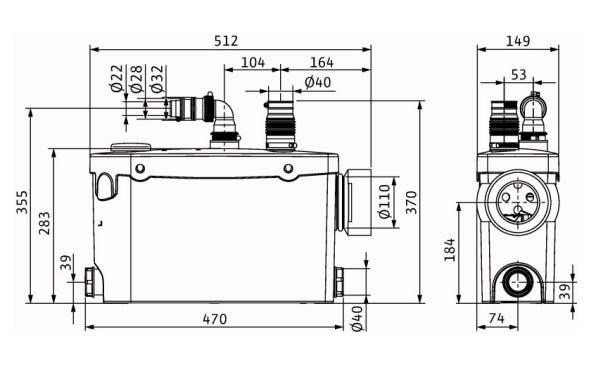 Размеры WILO HiSewlift 3-i35