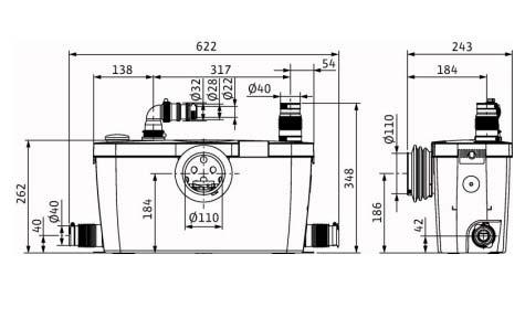 Размеры WILO HiSewlift 3-35