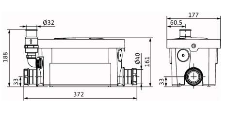 Размеры WILO HiDrainlift 3-24