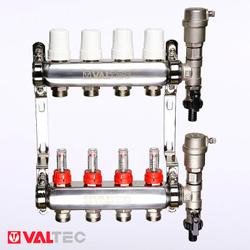 Коллекторный блок в сборе VALTEC VTc.589.EMNX | 5 контуров | c расходомерами