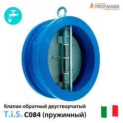 Клапан обратный TIS C084 Ду50-600 Ру16 межфланцевый двустворчатый (нж.сталь)
