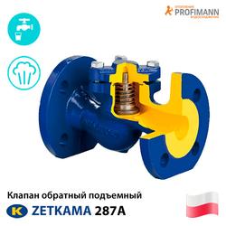 Клапан обратный подъемный фланцевый ДУ 15-300 Zetkama 287A Ру 16